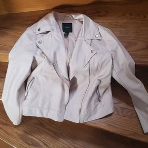 Forever 21 Pale Pink Leather style jacket Size S